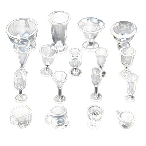 Gracefulvara 17Pcs Clear Cups - Tea Wine Ice Cream Cups Set for 1:12 Miniature Dollhouse Accessories