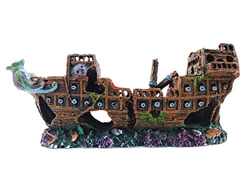 M2cbridge Aquarium Decorations Ornaments Resin Ancient Detailed Sunken Little Pirate Battle Wagon Warship Wreckage with Hiding Place for Smaller Fish Snails Guppies