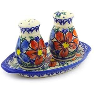 Polmedia Polish Pottery 6-inch Stoneware Salt and Pepper Set H2618F Hand Painted from Vena in Boleslawiec Poland. Shape S315C(042) Pattern P4893A(U089) Unikat