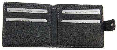 NB24 Geldbörse WILD THINGS ONLY !!! (5513) für Damen und Herren, Echt Leder, schwarz, Größe ca. 11 x 9 x 1,5 cm