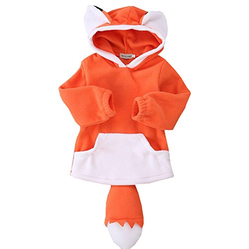LINGGO Unisex Kids' Toddler Cute Funy Little Fox Cartoon Modeling Comfortable Breathe Stereo Sport Warm Hoodies Coat 1-4Age (Little Garments Boys Modeling)