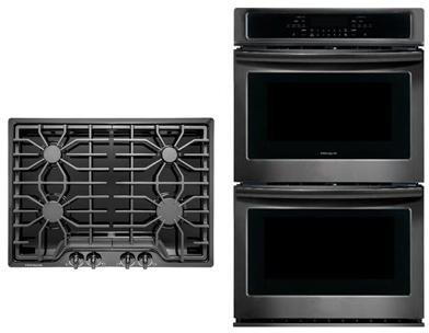 Frigidaire 2-Piece Kitchen Package with FFGC3026SB 30″ Gas Cooktop, and FFET3026TB 30″ Electric Double Wall Oven in Black Stainless Steel