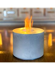 Hestia Table Top Fire Pit Bowl, Portable Personal Concrete Fireplace - Tabletop Fire Pit Outdoor Indoor Use, Blow Isopropyl Alcohol as Fuel