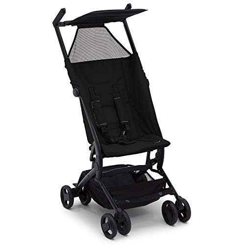 Delta Children Ultimate Fold N Go Compact Travel Stroller | Foldable Travel Bag | Umbrella Canopy | Storage Basket | Black