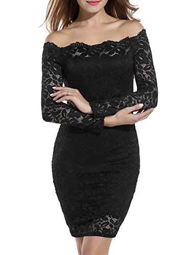 - ACEVOG Women's Vintage Floral Lace Long Sleeve Boat Neck Plus Size Dresses Cocktail Formal Bodycon Dress Black S