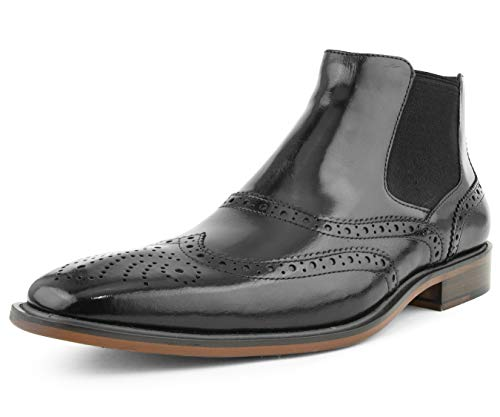 (Asher Green Mens Genuine Double Gore Leather Oxford Wingtip Dress Boot, Comfortable Stylish Easy Slip On Black)