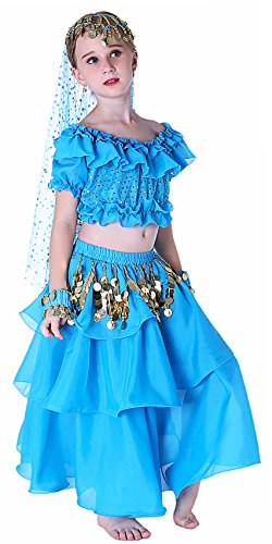 Different Types Belly Dance Costumes (Halloween Costumes for Girls with Size 14 Blue)
