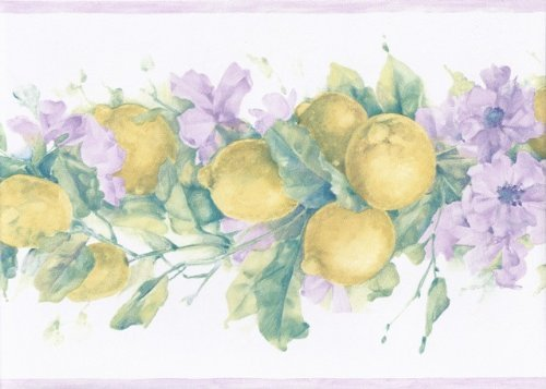 York Wallcoverings MK77670 Primrose Lemons Wallpaper Border, Purple, (Primrose Border)