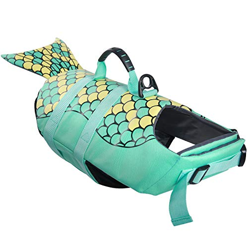 Dog Life Jackets, Ripstop Pet Floatation Life Vest for Small, Middle, Large Size Dogs, Dog Lifesaver Preserver Swimsuit for Water Safety at The Pool, Beach, Boating (Large, Green Mermaid)