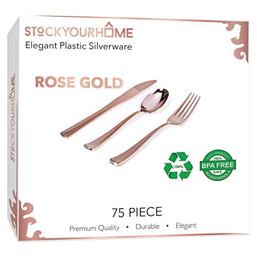 75 Pieces Rose Gold Plastic Silverware- Disposable Flatware Set-Heavyweight Plastic Cutlery- Includes 25 Forks, 25 Spoons, 25 Knives (Rose Gold)