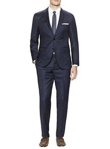 Gino Valentino Men's Two Button Jacket 2 Piece Modern Fit Birdseye French Blue Suit (46 Regular US / 56 Regular EU) (Birdseye Suit Jacket)