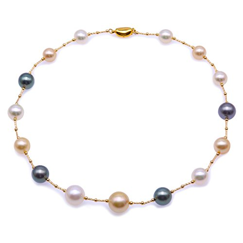 - JYX Pearl 18K Gold Necklace AAA+ Quality Genuine 9-13mm Golden & White South Sea Pearl and Tahitian Pearl Station Necklace for Women