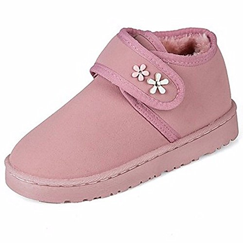 Automne Rose Rouge Hiver ZHUDJ Cn35 Bottes Boots Des Chaussures Bottes Rose 5 Crochet Bout Gris Uk3 Noir Eu36 Et Femmes Bottes Us5 Plat D'Talon 5 Pour Boucle Un Rond Pour wIqHRqt