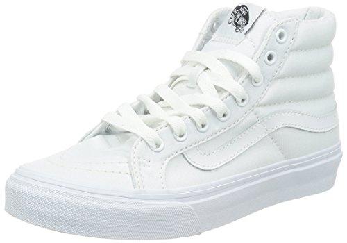 Vans Unisex Sk8-Hi Slim Skate Shoe (9 D(M) US MEN / 10.5 B(M) US WOMEN, (Canvas) True White) (Old School Vans Shoes compare prices)