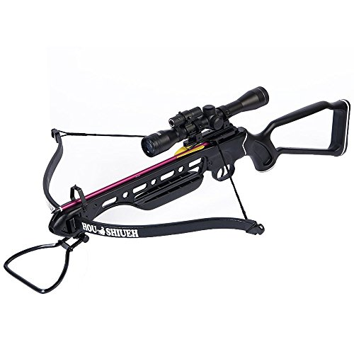150 Lb Metal (150 lb Black Metal Hunting Crossbow Archery Bow + 4x20 Scope +12 Bolts 180 80 50)
