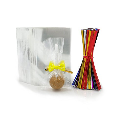 (200 Clear Treat Bags with 200 Pcs Twist Ties 20 Bowknot 5 Colors,Clear Cellophone Bags Party Favor Bags for Lollipop Cake Pop Candy Buffet Chocolate Cookie Wedding Supply (2.3'' x)