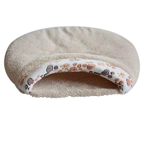 Topbeu Warm Pet Sleeping Bag Cat House Hamburger Shape Dog Cat Kennel Pet Bed (S, Creamy White)
