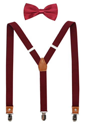 Suspenders And Pre-Tied Bowtie Set For Boys And Men By JAIFEI, Casual And Formal (Men(47 inches), Burgundy) -