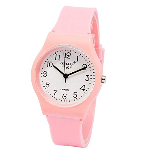 New Fashion Simple Transparent Quartz Watch Waterproof Silicone Wristwatch Young Girls Teen Student Analog Time Teacher Watch Gift Resin Band (Orange)