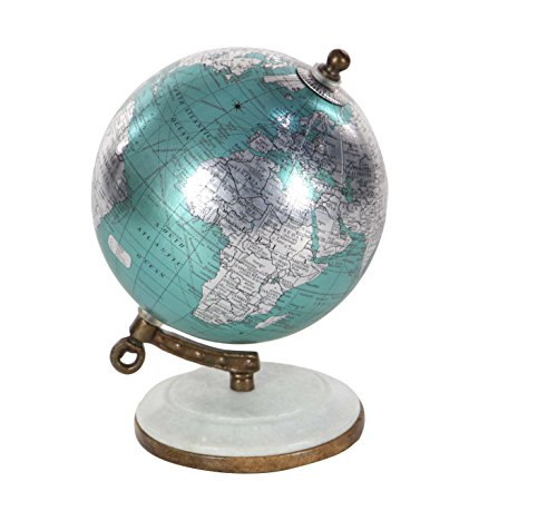 Deco 79 94471 Cyan Marble and Resin Decorative Globe, Cyan/Silver/White/Brown (Marble Finish Resin)