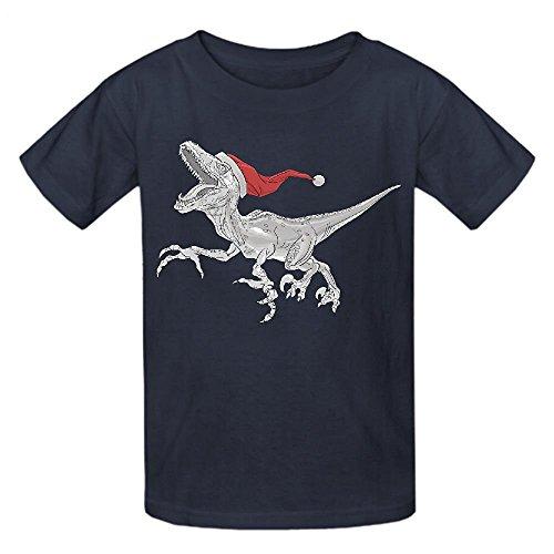 snowl-black-and-white-christmas-velociraptor-youth-crew-neck-short-sleeve-tees-grey