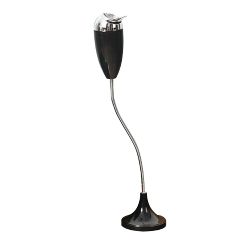 Frjjthchy Creative Curvable Floor Standing Ashtray with Windproof Lid Cigar Ashtray Black