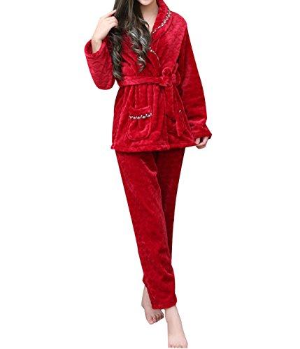 QPALZM Franela Cálido Confort De Encaje Pijamas De Invierno Red
