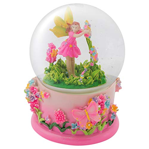 Elanze Designs Pink Floral Fairy Rotating Figurine 100MM Water Globe Plays Tune Beautiful Dreamer
