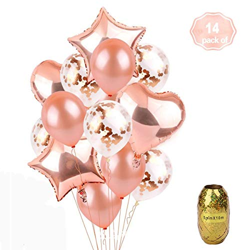 Rose Gold Balloons, Ztent Foil Balloons Decorations & Latex Premium Balloon Set with Confetti 14Pcs - 18&12 inches, 3Styles + 1Ribbon -Perfect for Weddings, Birthdays, Bridal Shower, Bachelorett