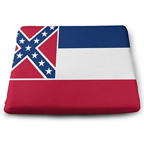 Jadetian Outdoor Mississippi State Flag Square Seat Cushion Yoga Cotton Cushion for Outdoor Patio Furniture Garden Home Office Car Seat Cushion - Mississippi Seat Cushion