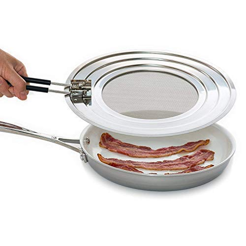 Splatter Screen Guard - Blocks Hot Grease Splash from Bacon, Shield Skin from Oil Burns, Universal Lid for Frying Pans, Easy to Clean & Dishwasher-Safe, Foldable Heat-Resistant Silicone Handle Skillet