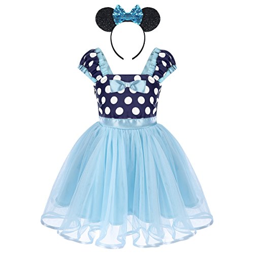 Baby Girls Minnie Costume Vintage Polka Dot Dresses Princess Party Tutu Skirt with Bow Ear Headband 2PCS Set for Kids Toddler Birthday Christmas Halloween Cosplay Blue 2-3 Years