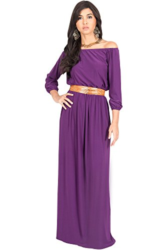 KOH KOH Womens Long Sleeve Off Shoulder Cocktail Belted Sexy Gowns Elegant Party Designer Bridesmaid Evening Wedding Guest Summer Maxi Dress, Color Purple, Size Small S 4-6 (1)