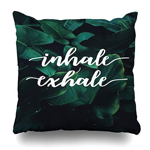 Ahawoso Throw Pillow Cover Square 20x20 Greenery Green Nirvana Inhale Exhale Yoga Spiritual Saying Quote Peace Nature Energy Environmental Design Pillowcase Home Decor Cushion Case
