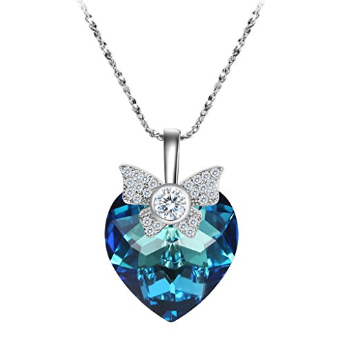 EleQueen 925 Sterling Silver CZ Heart of Ocean Titanic Inspired Bowknot Pendant Necklace Made with Swarovski Crystals