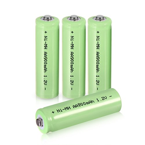 uxcell 4 Pcs 1.2V 900mAh AA Ni-MH Battery Rechargeable Batteries Button Top for LED Torch Flashlight Headlamp