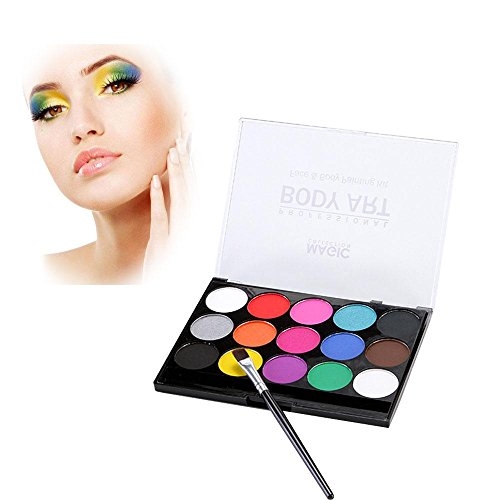 Pawaca Face Paint Kit for Kids Water Based 15 Colors Palette Body Paint for Party and Cosplay, Non-Toxic, Easy to Wear and Remove -