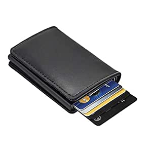 Dlife Credit Card Holder RFID Blocking Wallet Slim Wallet Cowhide Leather Vintage Aluminum Business Card Holder Automatic Pop-up Card Case Wallet Security Travel Wallet (Black Case)