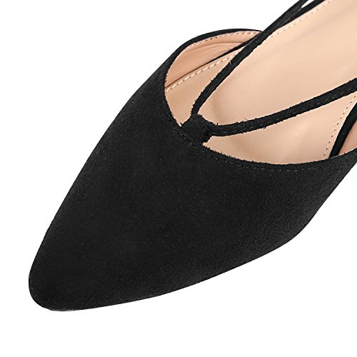 Womens Faux Suede Ballet Pointed Toe Dorsay Flats Black-lace Up DFYWXpKWcT