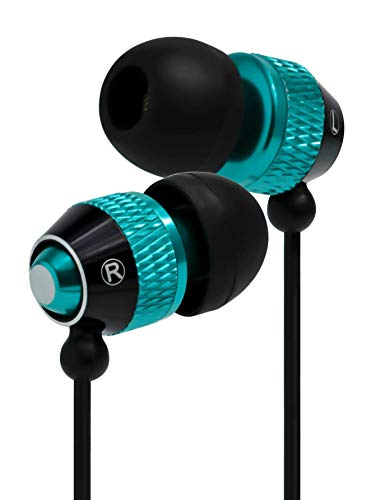 Bastex Universal Earphone/Ear Buds 3.5mm Stereo Headphones in-Ear Tangle Free Cable Built-in Microphone Earbuds iPhone iPod iPad Samsung Android Mp3 Mp4 More-Blue/Black