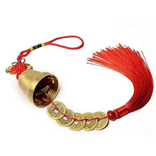 - FengShuiGe Chinese Feng Shui Bell for Brass Bells for Wealth and Health, Pendant Coins for Success, Ward Off Evil, Protect Peace,Used As Wind Chimes, Car Interiors - Red