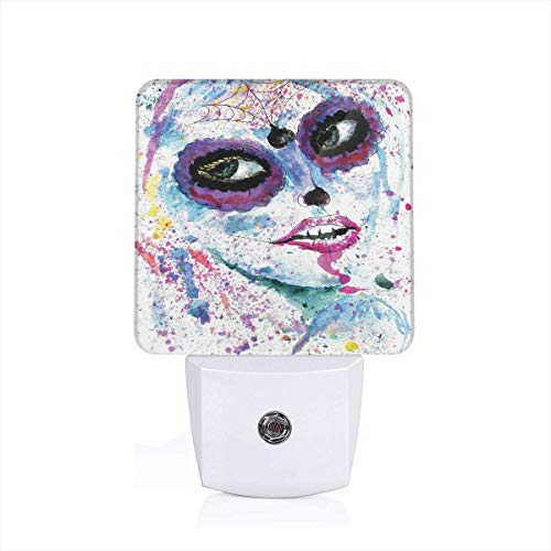 Seuriamin Girls Grunge Halloween Lady with Sugar Skull Make Up Creepy Dead Face Gothic Woman Artsy Blue Purple Dusk to Dawn Sensor of Corridor Energy Efficient Night Light