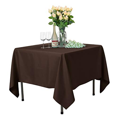 VEEYOO Square Tablecloth 100% Polyester Table Cloth for Indoor and Outdoor Table - Solid Dinner Tablecloth for Wedding Party Restaurant Coffee Shop (Chocolate, 85x85 inch)