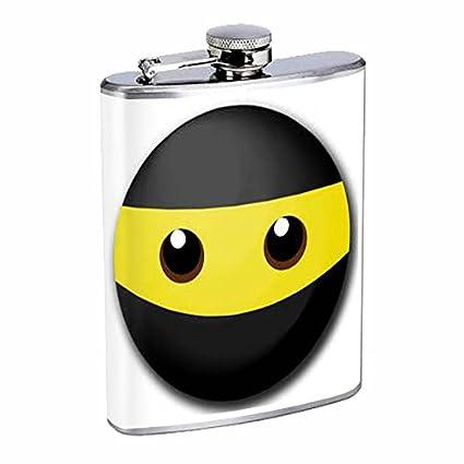 Amazon.com : Emoji Ninja Face Flask 21 Stainless Steel 8oz ...