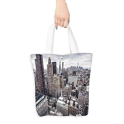 (Personalized ToteYork City American Metropolitan State Scenery Art Photo Charcoal Grey White and Redwood For Everyday Use W16.5 x H14 x D7)