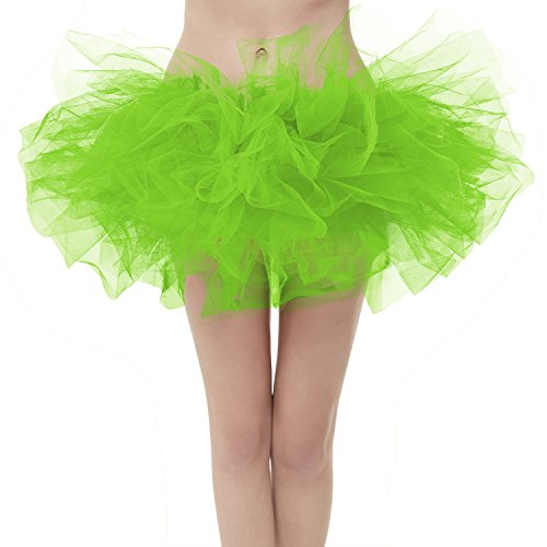 Girstunm Women's Classic Layers Fluffy Costume Tulle Bubble Skirt Bright-Green-Plus Size