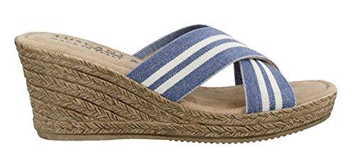 Denim Wedge Sandal - Easy Street Women's Malone Wedge Sandal,Denim/Ivory Stretch Fabric,US 10 M