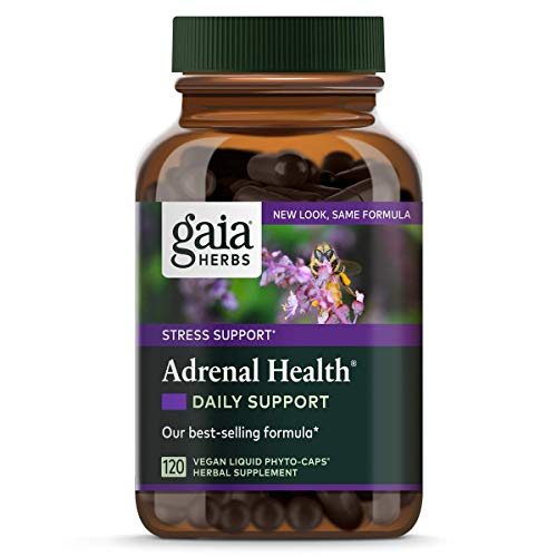 Gaia Herbs Adrenal Health Daily Support, Vegan Liquid Capsules, 120 Count - Stress Relief and Adrenal Fatigue Supplement, Holy Basil, Ashwagandha, Rhodiola Adrenal Complex (Process Standard Adrenal)