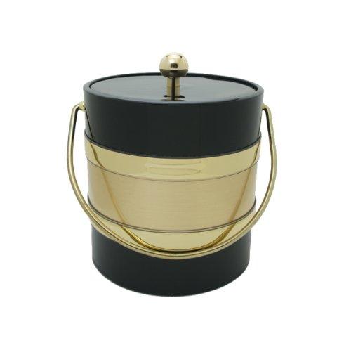 Black 3 Qt Ice Bucket (Mr. Ice Bucket 3-Quart Two Tone Ice Bucket, Black and Gold)