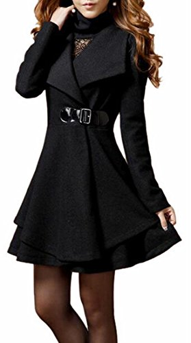 Jaycargogo Women Winter Lapel Wool Overcoat Long Swing Coat Jacket Black XS